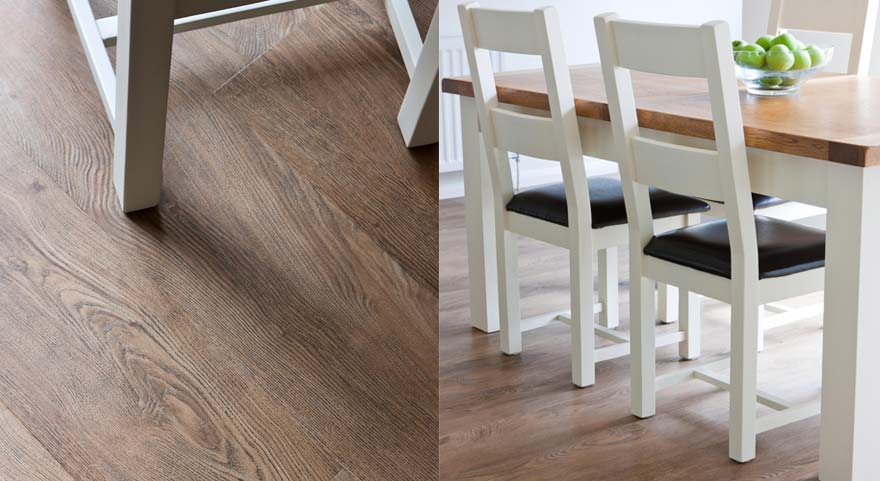 English Oak Luxury Vinyl Tile Dining Room Flooring