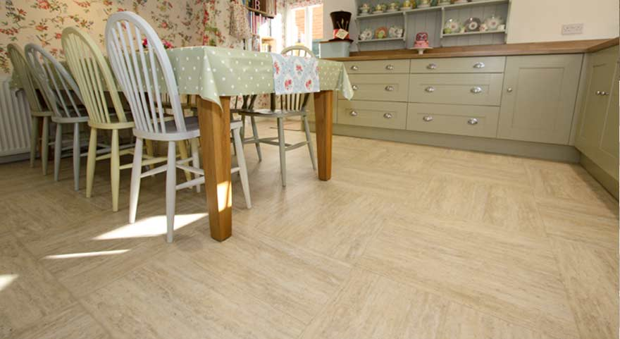 Luxury Vinyl Tile Dining Room Floor – Sandstone Effect
